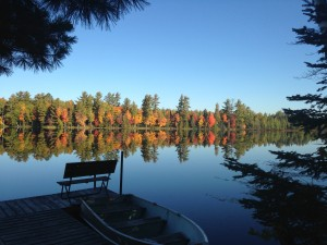 Fall colors across the Margaret Lake from dock of Cabin #2